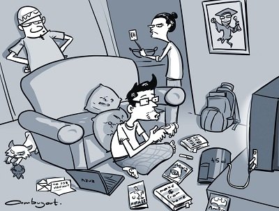 Comic of adult playing games in parents' living room.