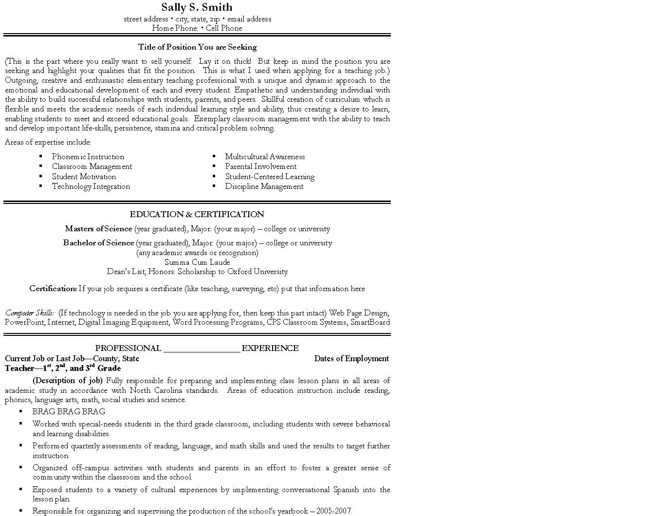 Here's A Sample Resume For You To Use Page 1