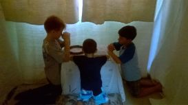 Os pequenos da IASD Nova CIdade, em Itaboraí, também reservaram um momento especial para usar a câmara de oração.