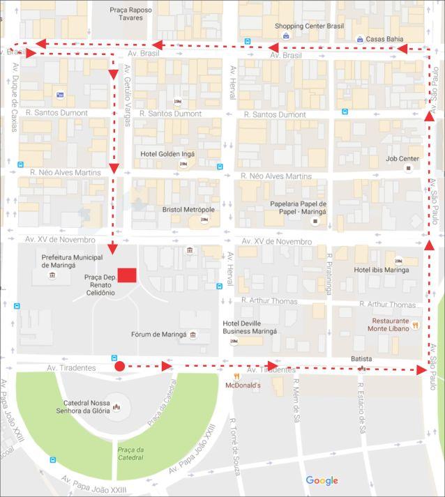 Mapa do trajeto da passeata