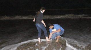 O lava pés foi feito na beira da praia