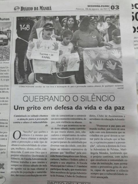 Jornal enfatiza o grito em defesa pela vida