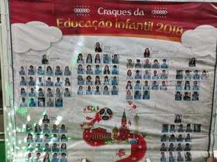 """Banner com álbum de figurinhas mostram os """"craques da Educação Infantil"""". Foto: Arquivo Pessoal"""