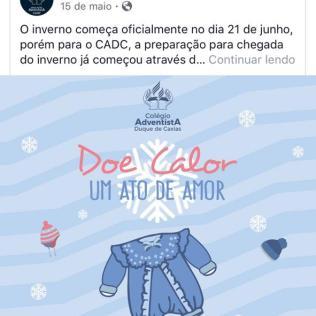 Postagem feita na Rede Social do Colégio (CADC).