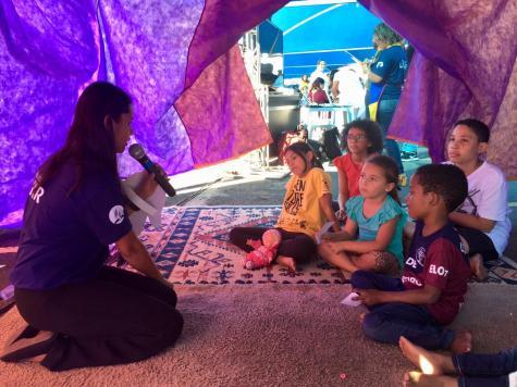 Um espaço lúdico foi montado em Mococa para ensinar as crianças a se protegerem da violência sexual
