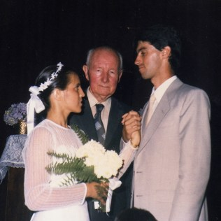 Celebração do casamento com Rosemara, pelo pastor Roberto Rabello. 1986