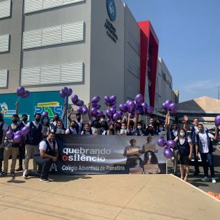 Alunos da educação Adventista participam das ações. (Foto: Divulgação)