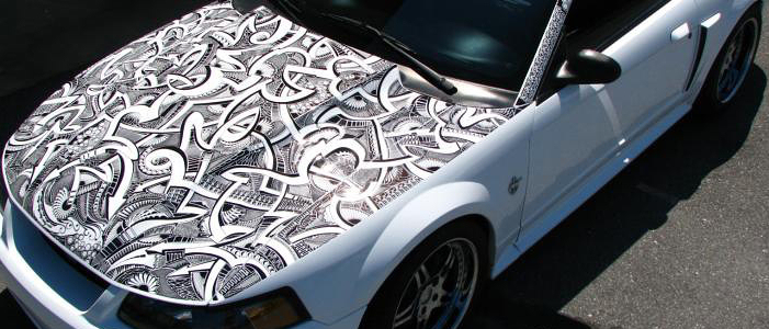 look guy draws all over his mustang with a marker blog. Black Bedroom Furniture Sets. Home Design Ideas