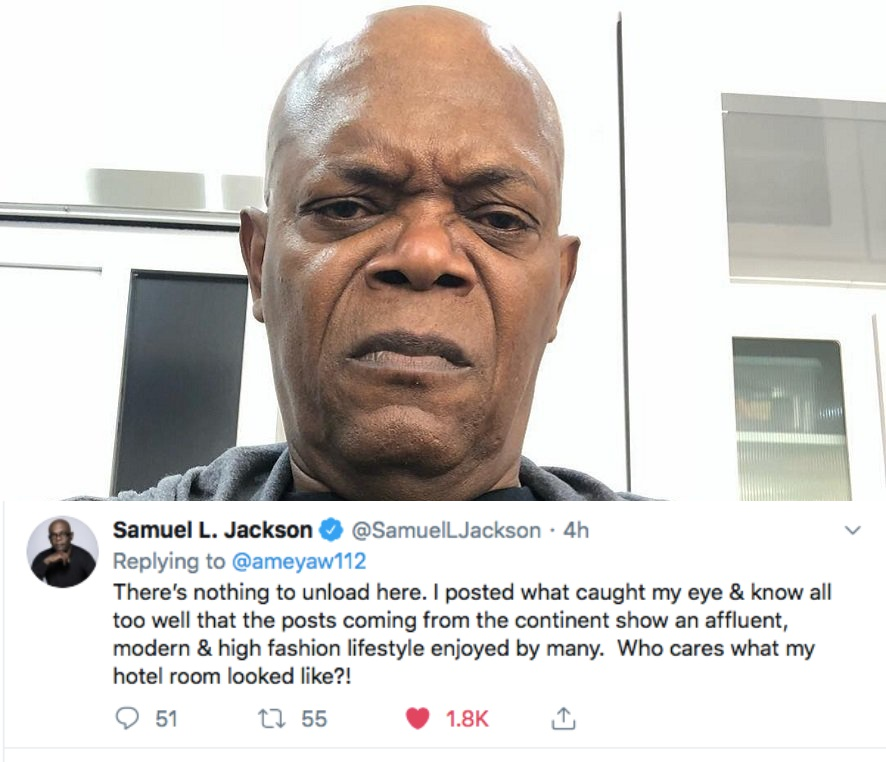 I posted what caught my eye – Samuel L Jackson responds to backlash over pictures he shared from Ghana