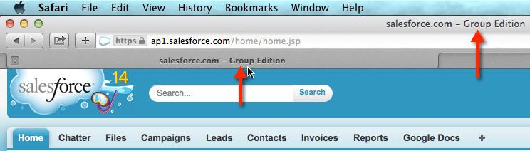 Check Salesforce Edition in Safari