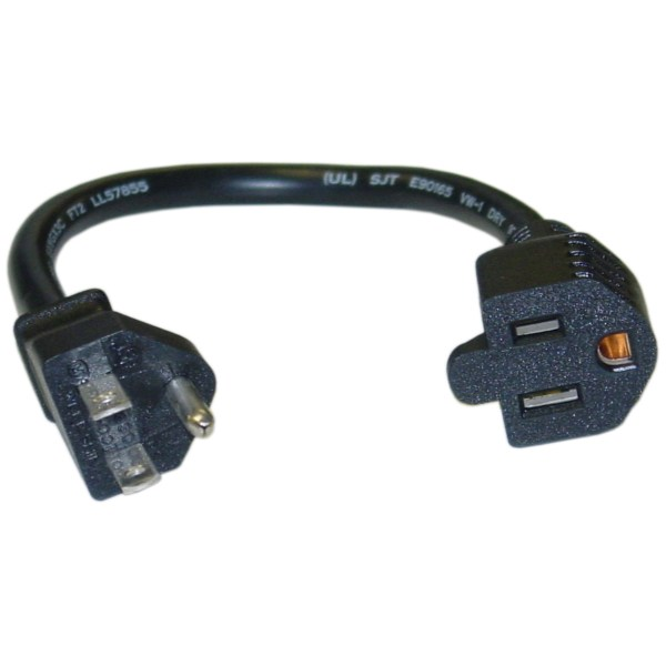 1ft Power Extension Cord Black 125v 10a