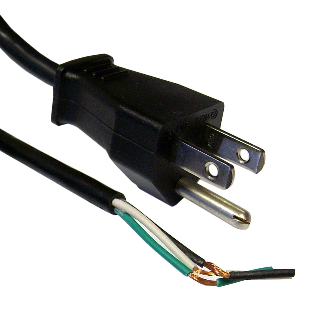 hight resolution of nema 5 15p to standard roj power cord black 18 3
