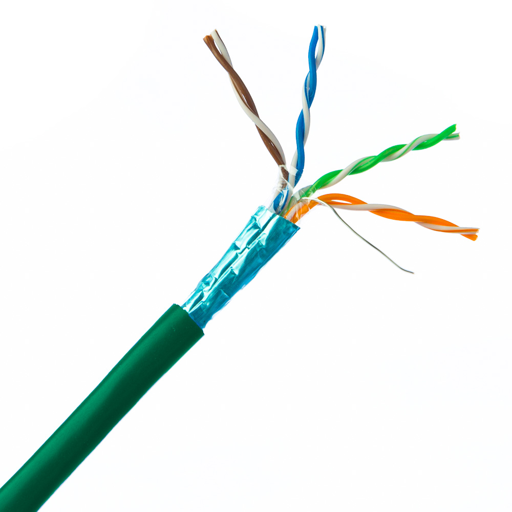 medium resolution of bulk shielded cat 5e green ethernet cable stp shielded twisted pair solid