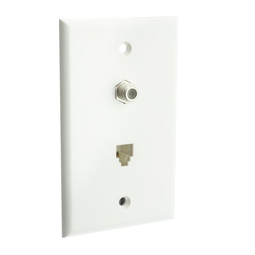 small resolution of satellite wall plate white f pin connector and telephone jack part number