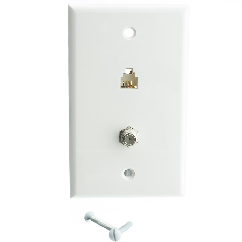 medium resolution of  satellite wall plate white f pin connector and telephone jack part number