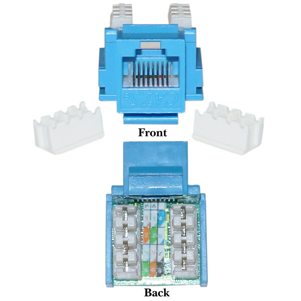 medium resolution of blue cat5e keystone rj45 female to 110 punch down to punch down ethernet standard wiring standard cat 5 ethernet wiring