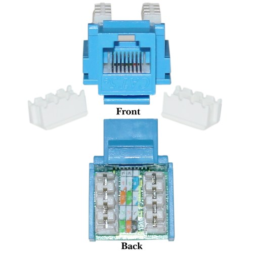 small resolution of blue cat5e keystone rj45 female to 110 punch down to punch down ethernet standard wiring standard cat 5 ethernet wiring