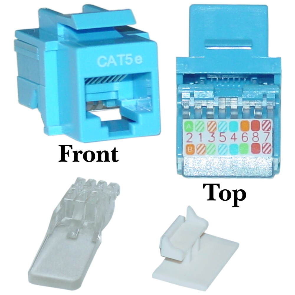 medium resolution of blue cat5e rj45 keystone jack toollesscat5e keystone jack blue toolless rj45 female