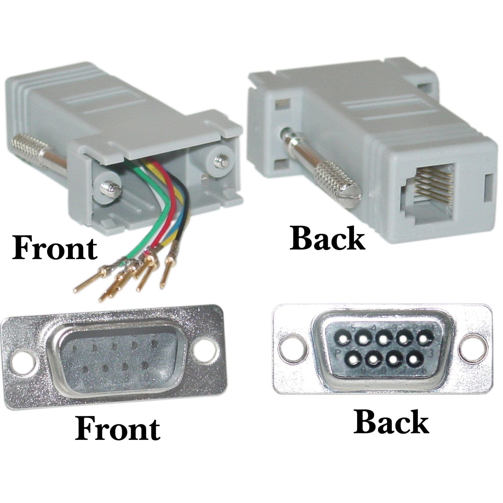 hight resolution of modular adapter db9 male to rj12 gray db9 to db25 rj12 to db9 female wiring