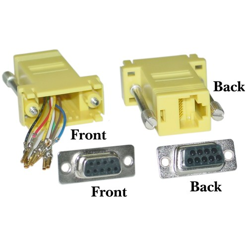 small resolution of modular adapter yellow db9 female to rj45 jack part number 31d1