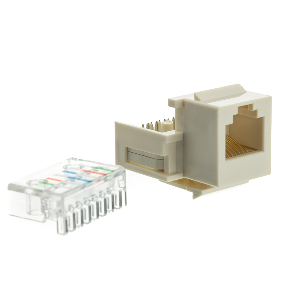 medium resolution of white phone jack keystone rj11 rj12 to wire insert rj11 cable wiring diagram rj11 color code