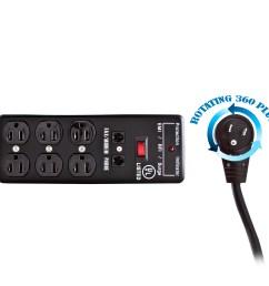 surge protector flat rotating plug 6 outlet black metal commercial grade [ 1500 x 1500 Pixel ]
