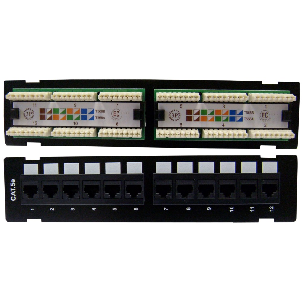 medium resolution of wall mount 12 port cat5e patch panel 110 type 10 inchwall mount 12