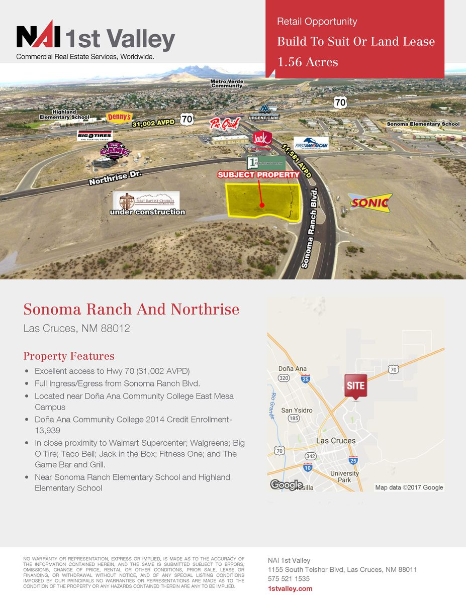 Sonoma Ranch Blvd  Las Cruces NM  Vacant Land for Lease