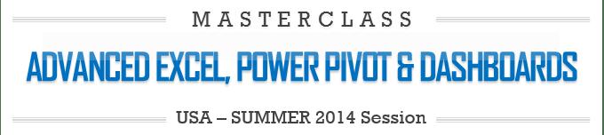 Advanced Excel, Power Pivot & Dashboards Masterclass by Chandoo.org - USA - Houston, TX - 2014