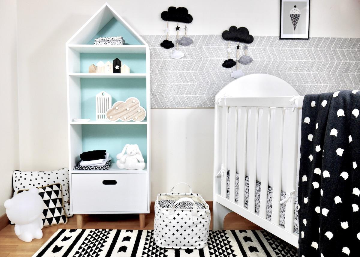 deco chambre bebe en noir et blanc