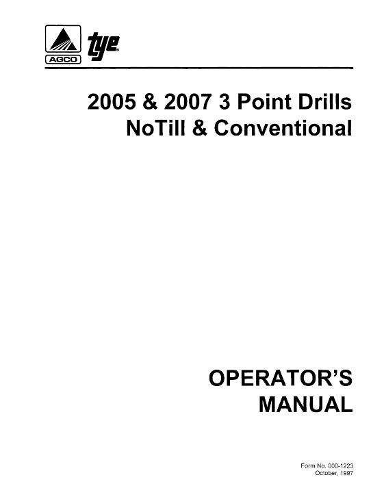 AGCO Technical Publications: Tye Seeding-Grain Drills 2005