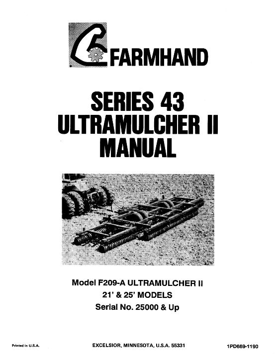 AGCO Technical Publications: Farmhand Tillage-Cultivators