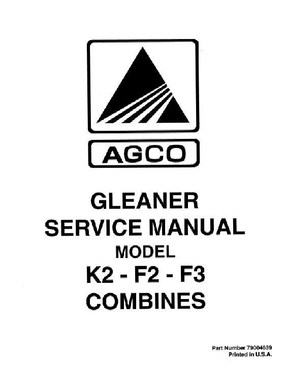 AGCO Technical Publications: Gleaner, Harvesting