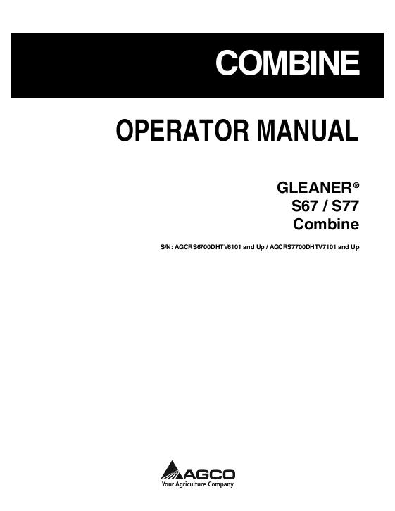 AGCO Technical Publications: Gleaner Harvesting-Combines