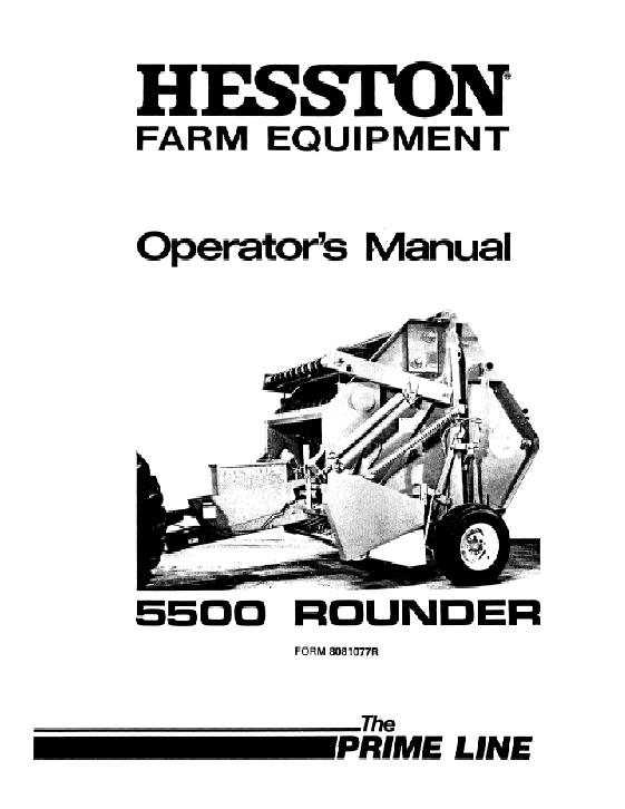 Owners Manual Hesston 5540 Baler