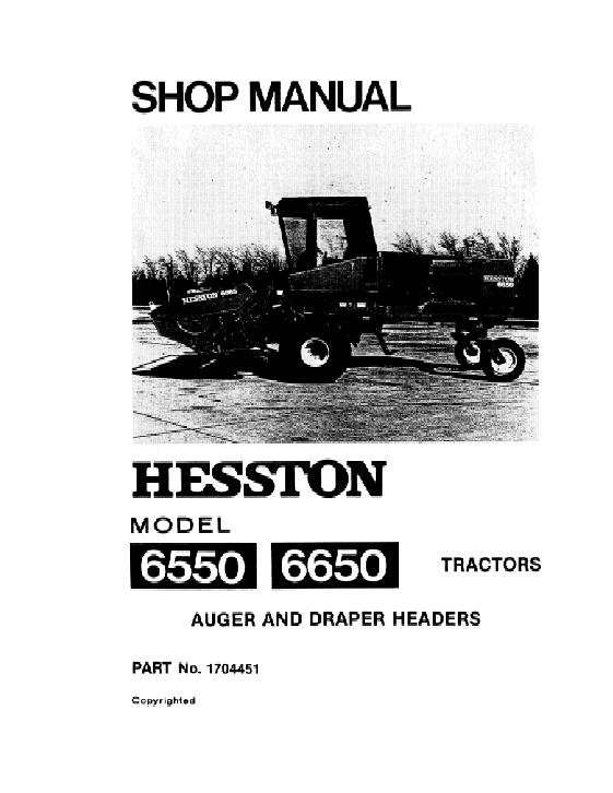AGCO Technical Publications: Hesston Harvesting-Swathers