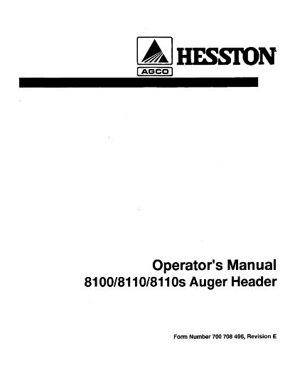 AGCO Technical Publications: Hesston Hay Equipment-Hay