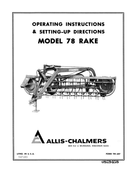 AGCO Technical Publications: Allis Chalmers Hay Equipment