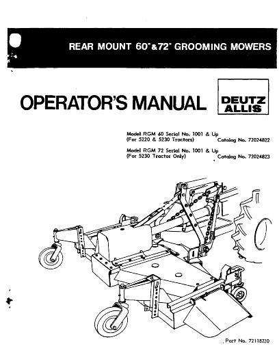 AGCO Technical Publications: Deutz Allis Grounds Care