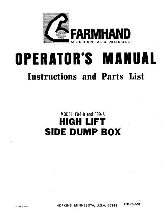 AGCO Technical Publications: Farmhand Forage-Boxes F94-B