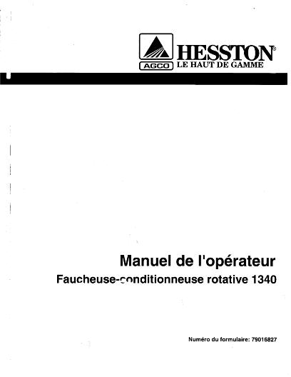 AGCO Technical Publications: Hesston Hay Equipment-Mower