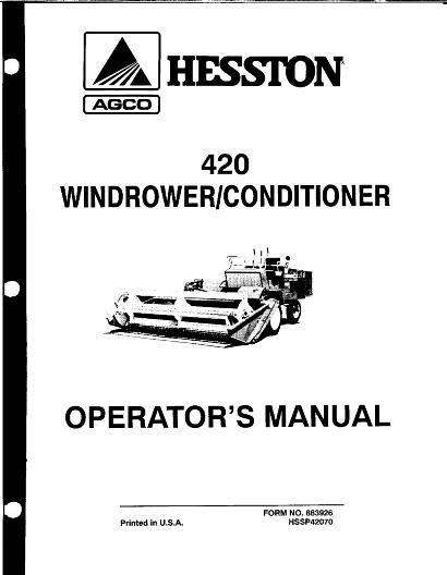 AGCO Technical Publications: Hesston Harvesting-Swathers