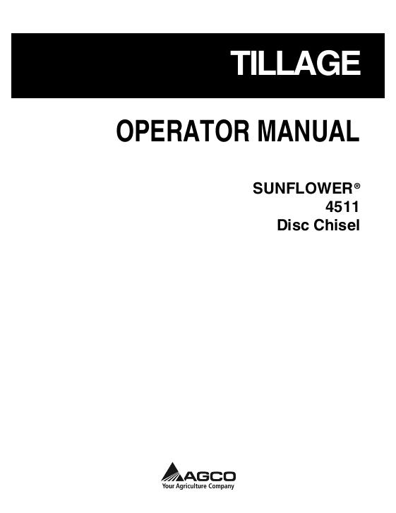 AGCO Technical Publications: Sunflower Tillage-Chisel