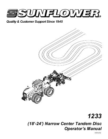 AGCO Technical Publications: Sunflower Tillage-Disc