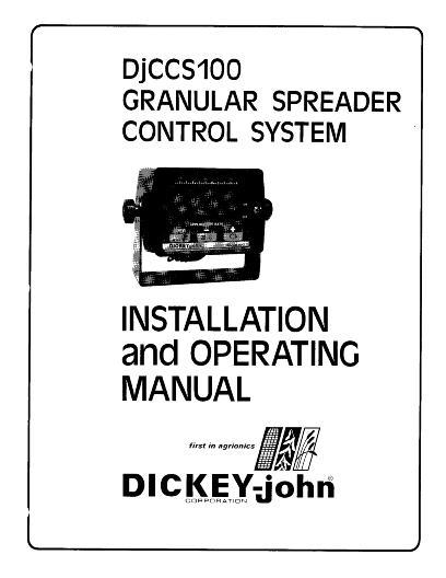 AGCO Technical Publications: Dickey-john DJCCS100 Control