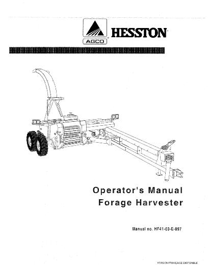 AGCO Technical Publications: Hesston Forage-Harvesters