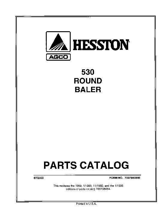 AGCO Technical Publications: Hesston Hay Equipment-Balers