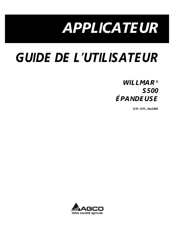 AGCO Technical Publications: Willmar Applicators-Dry
