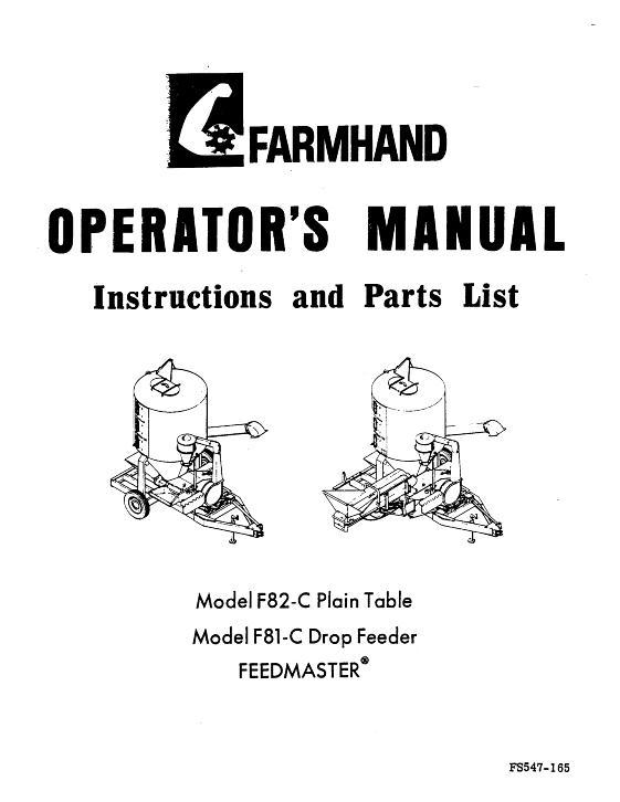 AGCO Technical Publications: Farmhand Feeding-Grinder