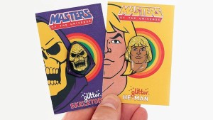 Aaron Craig's Masters of the Universe: Glitter Skeletor & He-Man lapel pins from Stupid Krap